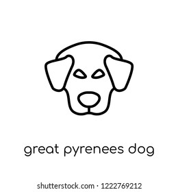 Great Pyrenees dog icon. Trendy modern flat linear vector Great Pyrenees dog icon on white background from thin line dogs collection, editable outline stroke vector illustration