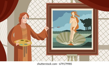 great renaissance artist painter painting a venus in a shell oils painting