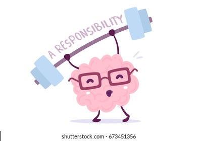Great responsibility of cartoon brain concept. Vector illustration of pink color smile brain with glasses very hard lifts weights on white background. Doodle style. Flat style character brain design