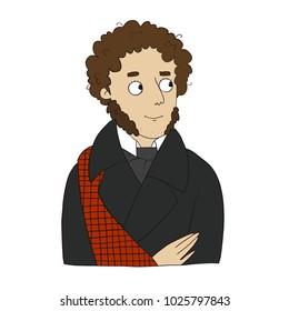 Great Russian classical poet Alexander Pushkin vector children book illustration
