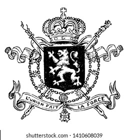 The Great Seal of Belgium which is Coat of Arms, vintage line drawing or engraving illustration.