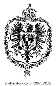 The Great Seal Germany - Empire is a European coat of arms, vintage line drawing or engraving illustration.