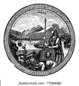 Great Seal  of the State of California vintage engraving. Vintage engraved illustration of the Seal of California , isolated against a white background.  United States. Trousset Encyclopedia.