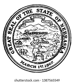 The Great Seal of the State of Nebraska, 1867. this seal has a steamboat on River, a train, a cabin, and a blacksmith, The banner holds the state motto Equality Before the Law, vintage line drawing