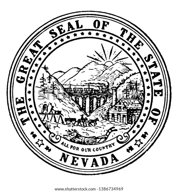 Great Seal State Nevada This Circle Stock Vector Royalty Free 1386734969