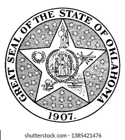 The Great Seal of the State of Oklahoma, 1907, this seal shows star of five points, in center two men facing each other and shaking hands, vintage line drawing or engraving illustration