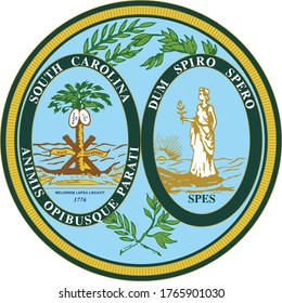 Great Seal of US Federal State of South Carolina (The Palmetto State)