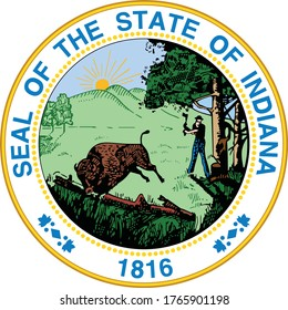 Great Seal of US Federal State of Indiana (The Hoosier State)
