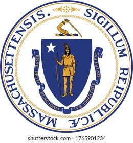 Great Seal of US Federal State of Massachusetts (The Pilgrim State)