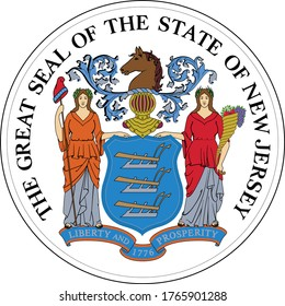 Great Seal of US Federal State of New Jersey (The Garden State)