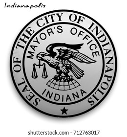 great seal of the USA city of Indianapolis. Round glossy Button with Coat of arms