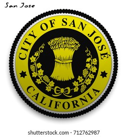 great seal of the USA city of San Jose. Round glossy Button with Coat of arms