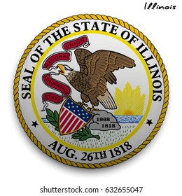great seal of the USA state of Illinois. Round glossy Button with Coat of arms