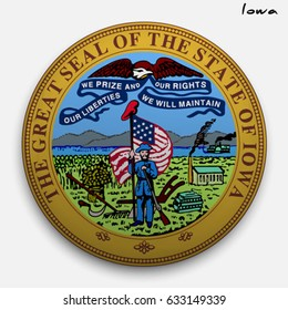great seal of the USA state of Iowa. Round glossy Button with Coat of arms