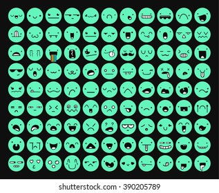 Great set 99 emotions isolated, color mint on black with transparent shadow. Emoji for Web. Anger and compassion. Laughter, tears. Smile sadness surprise. Happiness fear.