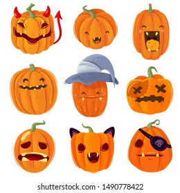 great set of Halloween pumpkins in a flat cartoon style hand-drawn collection all items are isolated