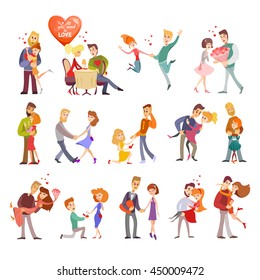 Great set of happy cartoon couples in love.Happy lovers on date,at dinner,hugging,dancing.Collection of couple silhouettes icons.Vector illustration isolated on white background