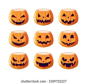 A great set of pumpkins for Halloween. Angry pumpkin face for Halloween. Halloween with scary faces horrible grimaces. Flat style design isolated on white background. Vector illustration.