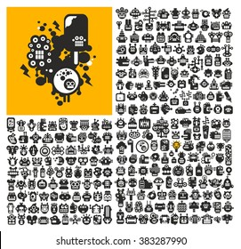 Great set of robot faces. Vector collection of black and white cute monsters.