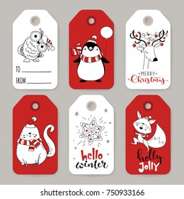 Great set of six vector holiday Christmas tags with cartoon characters deer, fox, penguin, owl, cat and holiday calligraphy.