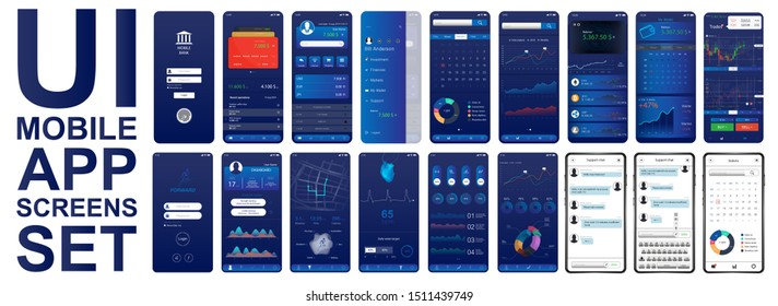 Great set UI for mobiles app. Different screenshots in flat style. Smartphone App screen set in flat style (Fitness, economik, analytic, business dashboard). UI, UX, KIT, interface. Vector elements