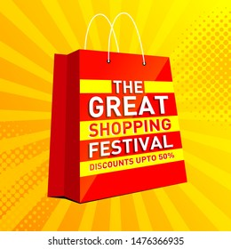 The Great Shopping Festival Banner, Logo design, Sticker, Concept, Card, Template, Icon, Poster, Unit, Label, Web Header, Mnemonic with text on top of shopping bag and festive rays yellow background.