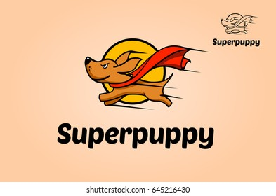 A great and simple logo. A Cool Superdog logo Mascot very easy to remember for your company. Vector logo illustration