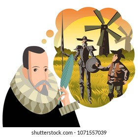 great spanish writer and old quixote knight with sidekick