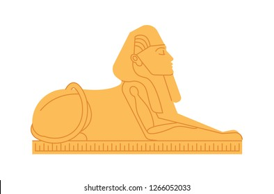 Great sphinx of Giza, deity or mythological creature with human s head and lion s body. Colossal statue of mythical or legendary character from ancient Egypt. Colored flat vector illustration.