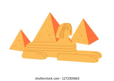 Great sphinx and Giza pyramid complex isolated on white background. Colossal statue of legendary creature from ancient Egypt mythology. Historical and cultural landmark. Flat vector illustration.