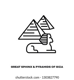 Great Sphinx and Pyramids of Giza at Egypt vector line icon. International landmark and tourism symbol.