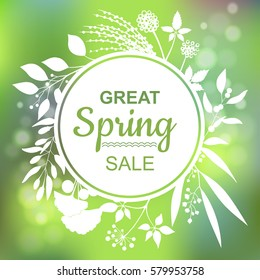 Great spring Sale Banner. Vector Colorful Illustration