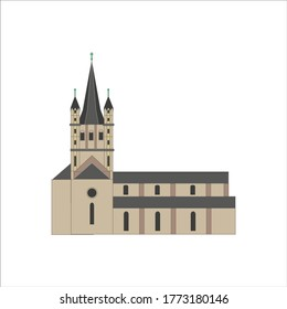 great st martin church in cologne city in germany illustration for web and mobile design.