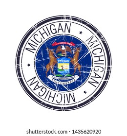Great state of Michigan postal rubber stamp, vector object over white background