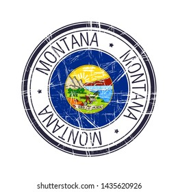 Great state of Montana postal rubber stamp, vector object over white background