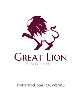 Great Strong Lion Standing Luxury Logo Template