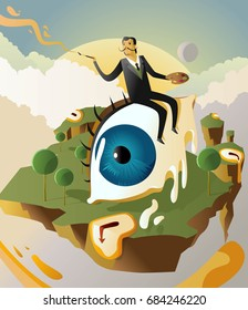 great surrealism painter salvador dali on big floating eye in island with clocks