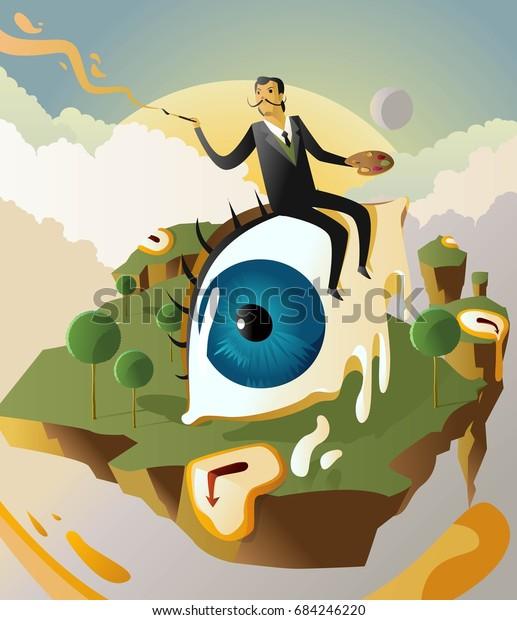 Great Surrealism Painter Salvador Dali On Stock Vector