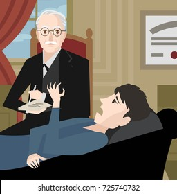 great Swiss psychiatrist with patient in room