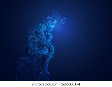 great thinker with broken head in wireframe polygonal style, brain thinking concept