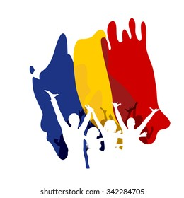Great Union Day in Romania, silhouettes of celebrating people, romanian flag in the background. Happy crowd.