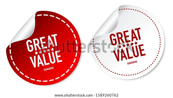 Great Value Stickers Isolated On White Background