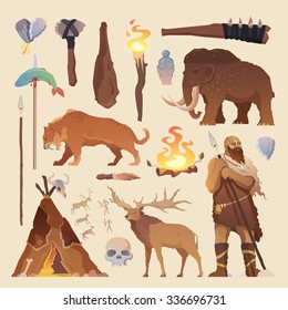 Great vector set of elements for your projects. Primitive man. Ice age. Cavemen. Stone age. Neanderthals. Homo sapiens. Extinct species. Evolution. Hunting. Flat design.