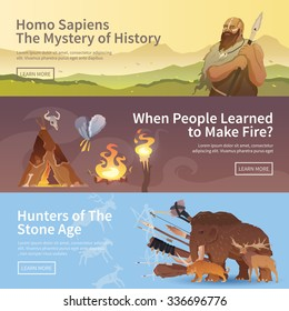 Great vector set of web banners for your projects. Primitive man. Ice age. Cavemen. Stone age. Neanderthals. Homo sapiens. Extinct species. Evolution. Hunting. Flat design.