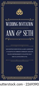 Great Vintage Invitation Sign in Art Deco or Gatsby Nouveau Epoch 1920's Gangster Era Vector to Wedding Party
