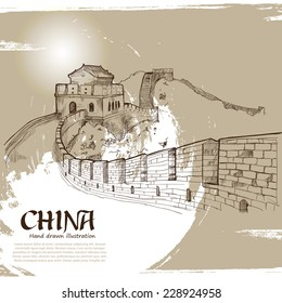 Great Wall of China Hand Drawn. Travel Concept. Vector Illustration