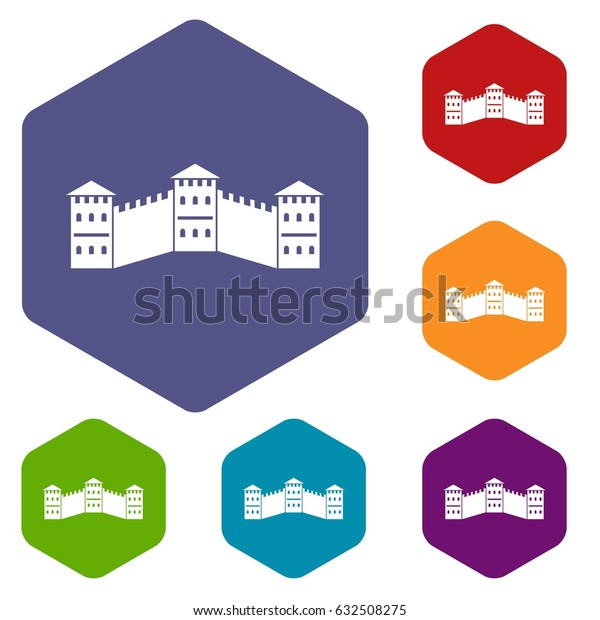 Great Wall of China icons set hexagon isolated vector illustration