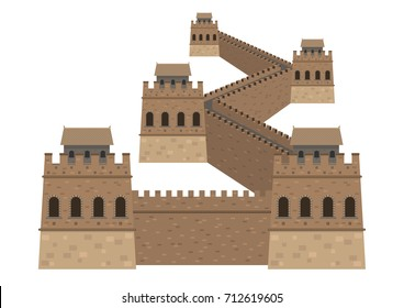 Great Wall, China. Isolated on white background vector illustration.