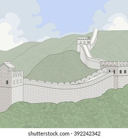Great Wall of China. A line illustration with tinted colors. The wall runs across hills with some large clouds and blue sky in the background