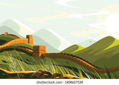 Great Wall of China vector illustration. Chinese famous landmark with watchtowers and wall sections on green mountains for travel and tourism design flat style concept
